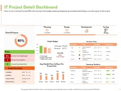 Welfare Work Value IT Project Detail Dashboard Ppt Model Clipart Images PDF