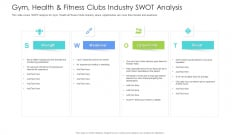 Well Being Gymnasium Sector Gym Health And Fitness Clubs Industry SWOT Analysis Icons PDF
