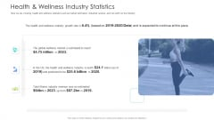 Well Being Gymnasium Sector Health And Wellness Industry Statistics Diagrams PDF