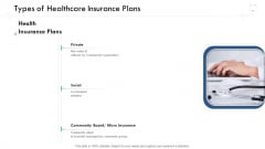 Wellness Management Types Of Healthcare Insurance Plans Ppt Pictures Outfit PDF