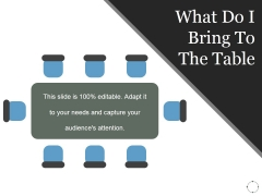 What Do I Bring To The Table Ppt PowerPoint Presentation Topics