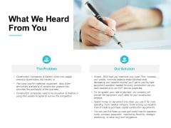 What We Heard From You Ppt PowerPoint Presentation Slide Download