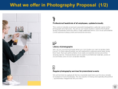 What We Offer In Photography Proposal Strategy Ppt PowerPoint Presentation Icon Infographic Template