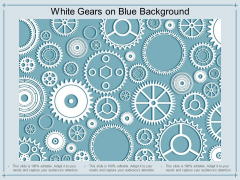 White Gears On Blue Background Ppt PowerPoint Presentation Gallery Maker