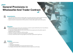 Wholeseller And Trader Contract Proposal General Provisions In Wholeseller And Trader Contract Mockup PDF