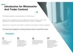 Wholeseller And Trader Contract Proposal Introduction For Wholeseller And Trader Contract Guidelines PDF