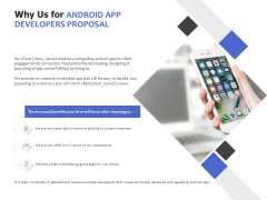 Why Us For Android App Developers Proposal Ppt PowerPoint Presentation Icon Clipart