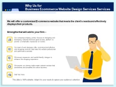 Why Us For Business Ecommerce Website Design Services Customized Ppt Gallery Portfolio PDF