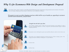 Why Us For Ecommerce Web Design And Development Proposal Ppt Infographics Graphics PDF