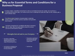Why Us For Essential Terms And Conditions For A Business Proposal Ppt Layouts Portrait PDF