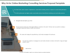 Why Us For Online Marketing Consulting Services Proposal Template Ppt Outline Layout PDF