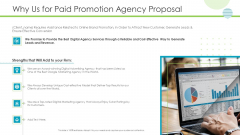 Why Us For Paid Promotion Agency Proposal Information PDF