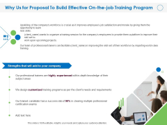 Why Us For Proposal To Build Effective On The Job Training Program Ppt Infographics Display PDF