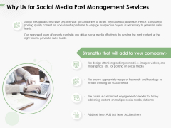 Why Us For Social Media Post Management Services Ppt PowerPoint Presentation Infographics Layout PDF