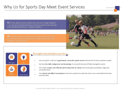 Why Us For Sports Day Meet Event Services Ppt PowerPoint Presentation Professional Graphics Tutorials