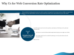 Why Us For Web Conversion Rate Optimization Ppt Infographic Template Graphics Tutorials PDF