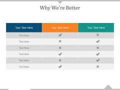 Why We Re Better Ppt PowerPoint Presentation Visual Aids Summary