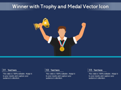 Winner With Trophy And Medal Vector Icon Ppt PowerPoint Presentation Portfolio Brochure PDF