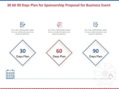 Winning Event Sponsorship 30 60 90 Days Plan For Sponsorship Proposal For Business Event Graphics PDF