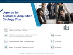 Winning New Customers Agenda For Customer Acquisition Strategy Plan Diagrams PDF