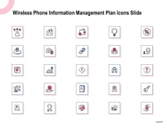 Wireless Phone Information Management Plan Icons Slide Clipart PDF