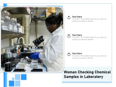 Woman Checking Chemical Samples In Laboratory Ppt PowerPoint Presentation Icon Inspiration PDF