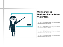 Woman Giving Business Presentation Vector Icon Ppt PowerPoint Presentation Outline Display