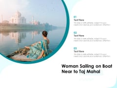 Woman Sailing On Boat Near To Taj Mahal Ppt PowerPoint Presentation Icon Ideas PDF