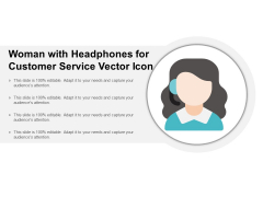 Woman With Headphones For Customer Service Vector Icon Ppt Powerpoint Presentation Ideas Vector
