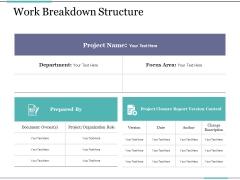 Work Breakdown Structure Ppt PowerPoint Presentation Ideas Model