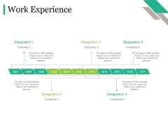 Work Experience Tamplate 2 Ppt PowerPoint Presentation Professional Outline