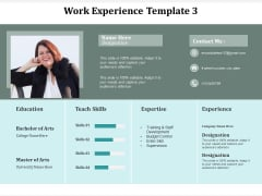 Work Experience Template Business Ppt Powerpoint Presentation Show Cpb