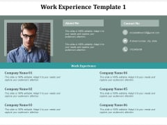 Work Experience Template Management Ppt Powerpoint Presentation Summary Picture Cpb