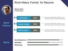 Work History Format For Resume Ppt PowerPoint Presentation Model Outline