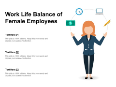 Work Life Balance Of Female Employees Ppt PowerPoint Presentation File Example Topics PDF