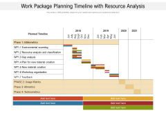 Work Package Planning Timeline With Resource Analysis Ppt PowerPoint Presentation Gallery Clipart PDF