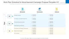 Work Plan Schedule For Advertisement Campaign Proposal Template Planning Formats PDF