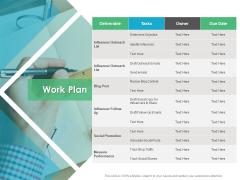 Work Plan Social Promotion Ppt PowerPoint Presentation Portfolio