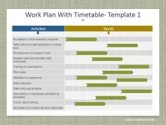 Work Plan With Timetable Template 1 Ppt PowerPoint Presentation Infographics Graphics