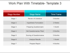 Work Plan With Timetable Template 3 Ppt PowerPoint Presentation Inspiration Portfolio