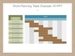Work Planning Table Example Of Ppt