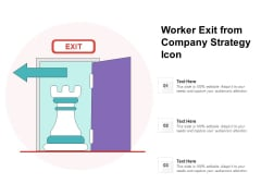 Worker Exit From Company Strategy Icon Ppt PowerPoint Presentation File Sample PDF