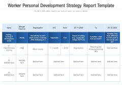 Worker Personal Development Strategy Report Template Ppt PowerPoint Presentation File Images PDF