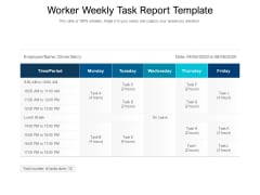 Worker Weekly Task Report Template Ppt PowerPoint Presentation Gallery Visual Aids PDF