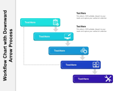 Workflow Chart With Downward Arrow Process Ppt PowerPoint Presentation Gallery Visuals PDF
