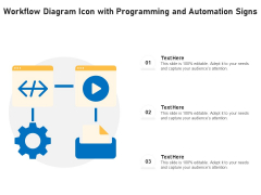 Workflow Diagram Icon With Programming And Automation Signs Ppt PowerPoint Presentation File Designs PDF