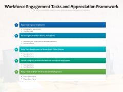 Workforce Engagement Tasks And Appreciation Framework Ppt PowerPoint Presentation File Tips PDF