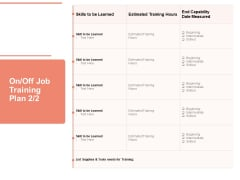 Workforce Planning System On Off Job Training Plan Measured Ppt PowerPoint Presentation Infographics Gridlines PDF