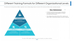 Workforce Security Realization Coaching Plan Different Training Formats For Different Organizational Levels Icons PDF