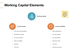 Working Capital Elements Ppt PowerPoint Presentation Ideas Example Introduction